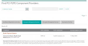 Bluefin PCI P2PE Component Listing
