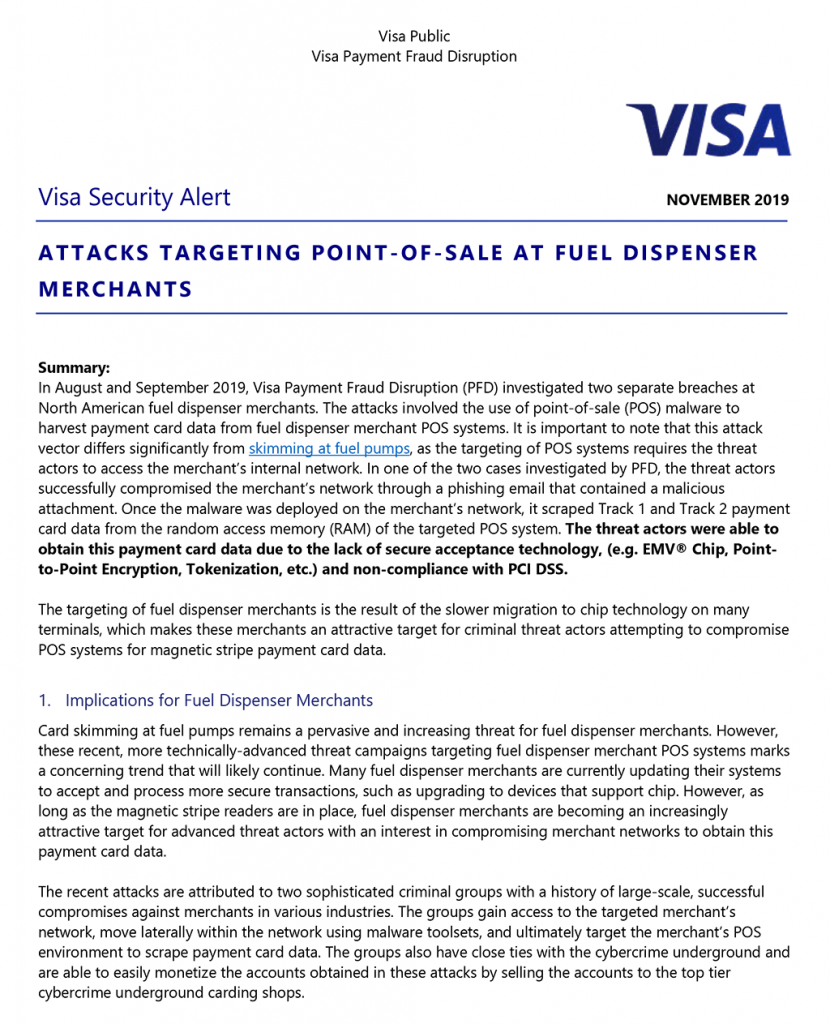 Visa Warns of Malware Attacks on Fuel Dispensers